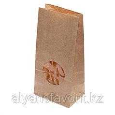 Пакет с прямым дном, 1 слойный, окно круг., 100(70)*60*200, крафт  .РФ