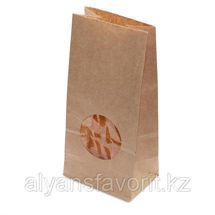 Пакет с прямым дном, 1 слойный, окно круг., 100(70)*60*200, крафт  .РФ, фото 2