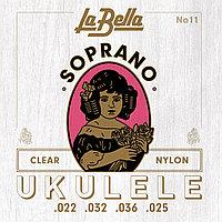 Струны для укулеле La Bella No11, soprano, Clear Nylon.