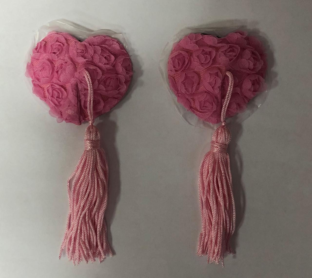 """Пэстисы """"Сердце"""" с кисточками, розовые"""