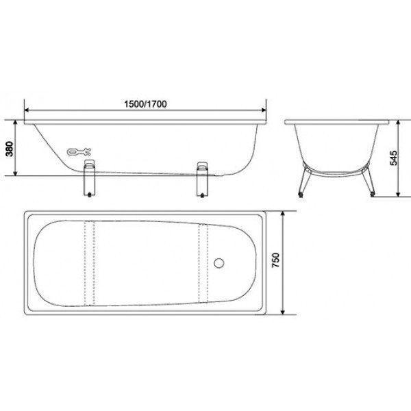 Ванна стальная Classic L-1700*750 mm - фото 3