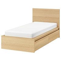 Кровать каркас+2 кроватных ящика МАЛЬМ дубовый шпон, Лонсет 90x200  ИКЕА, IKEA, фото 1