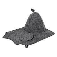 Набор Банные штучки (шапка, коврик, рукавица) серый 41184
