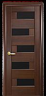 Полотно дверное остеклённое НОВЫЙ СТИЛЬ Пиана P6kn каштан/чёрное стекло