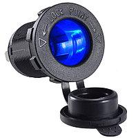 Авто-розетка гнездо прикуривателя с подсветкой на 12 и 24 вольта синий