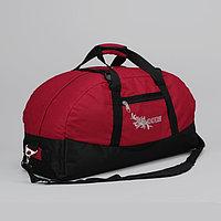 Сумка спортивная на молнии, 1 отдел, 1 наружный карман, длинный ремень, рисунок МИКС, цвет чёрный/красный