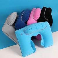 Подушка для шеи дорожная, с подголовником, надувная, 36 x 26 см, цвет МИКС