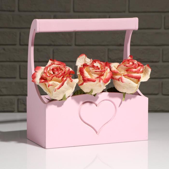 """Кашпо деревянное """"Symmetric Heart"""", с ручкой, розовый, 25×12,5×10(28) см"""