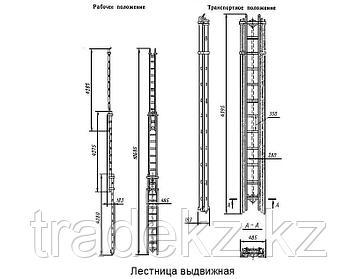 Лестница трехколенная выдвижная Л-3КМ (аналог ВПЛ), пожарная, фото 2