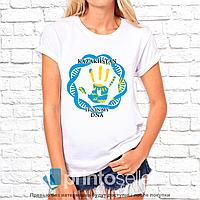 "Футболка с принтом женская ""Kazakhstan it is my DNA"" S"