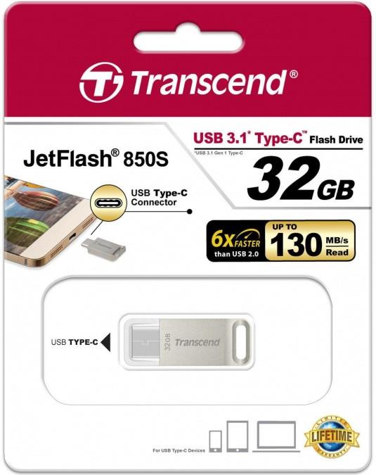 USB Флеш 32GB 3.1 Transcend TS32GJF850S type C металл