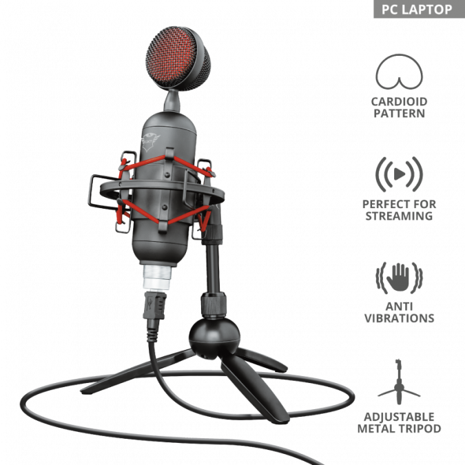 Студийный USB-микрофон Trust GXT 244 Buzz Streaming черный