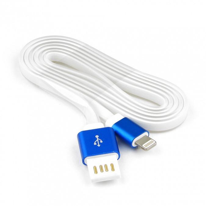 Кабель USB 2.0 Cablexpert CC-ApUSBb1m, AM/Lightning 8P, 1м, мульт-раз USB A, силикоy шнур, раз синий