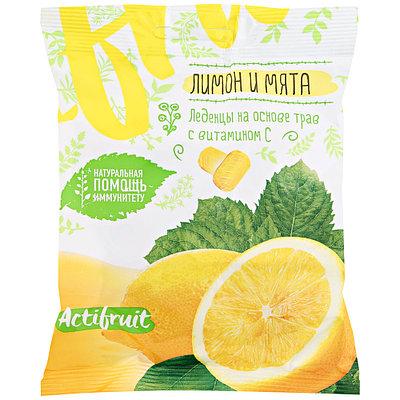 АКТИФРУТ леденцовая карамель с витамином С со вкусом лимона и мяты 60г