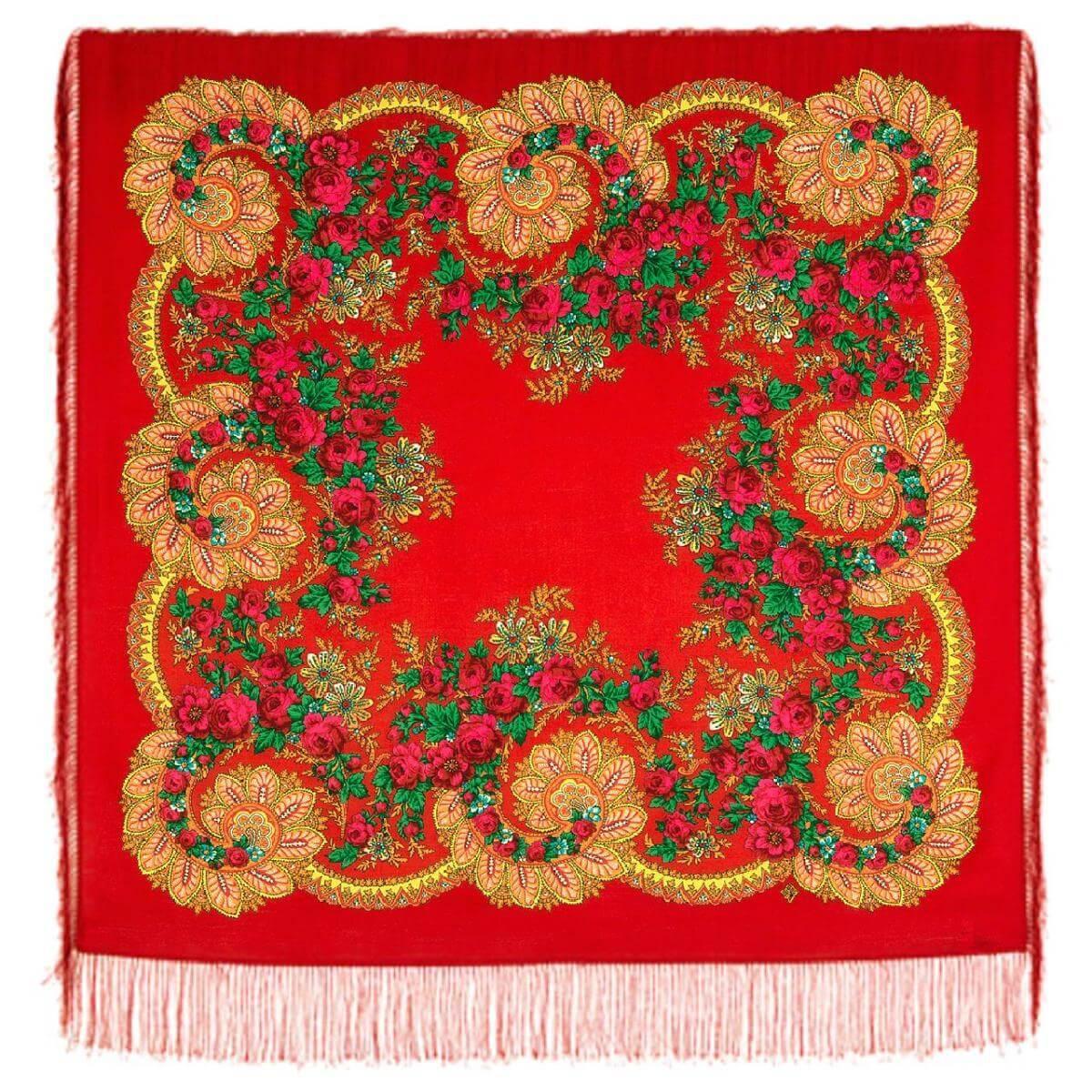 Павлопосадский платок Цветочный веер 1699-5 (110х110 см)