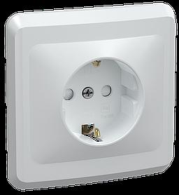 Розетка РСш10-3-ВБ с заземляющим контактом с защитной шторкой 16А ВЕГА белый  ИЭК