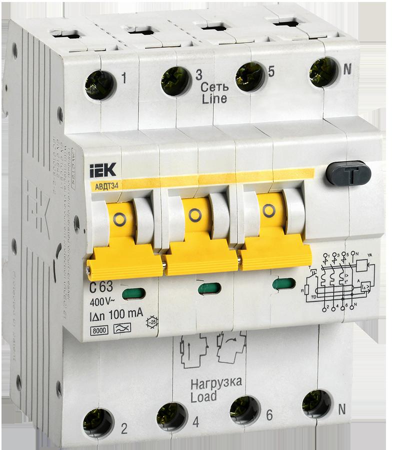 Автоматический выключатель дифференциального тока АВДТ 34 С63 100мА  ИЭК