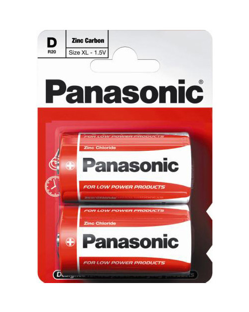 Батарейка солевая PANASONIC Red Zinc D 2B (2 шт)