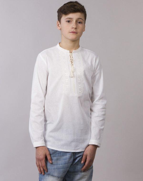 Вышиванка для мальчиков Дубочок ДР хлопок длинный рукав белым по белому - фото 1