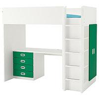 Кровать-чердак СТУВА / ФРИТИДС белый, зеленый 207x99x182 см ИКЕА, IKEA