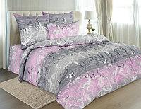 Комплект постельного белья Symphony, вензеля, розовый ЕВРО с нав. 70х70 см