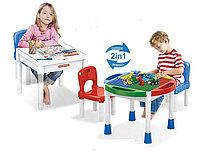 Столик 2 в 1 для игр с конструктором с двумя стульчиками