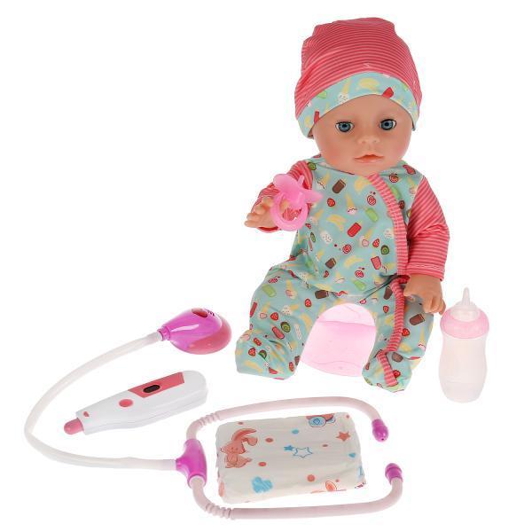 Карапуз Интерактивная кукла Сашенька, с набором доктора, 35 см.