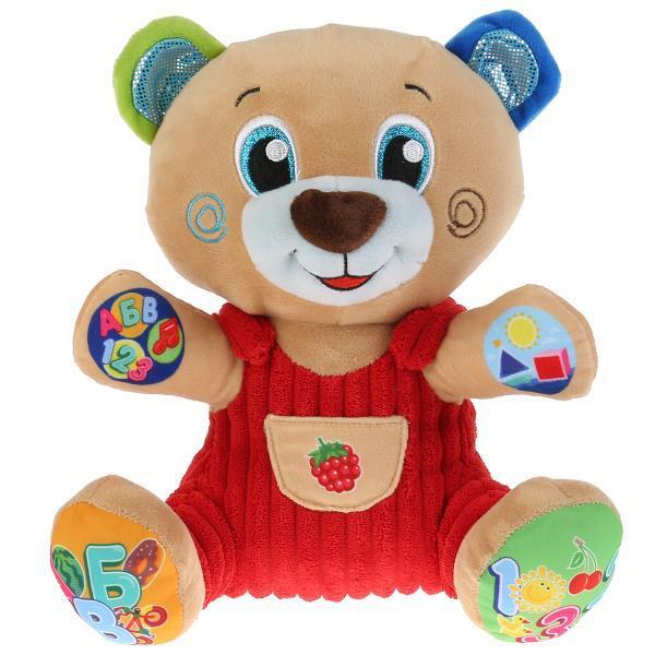Мульти-Пульти Обучающая Мягкая игрушка Умный Мишка, учим буквы, цифры, фигуры (звук), 25 см