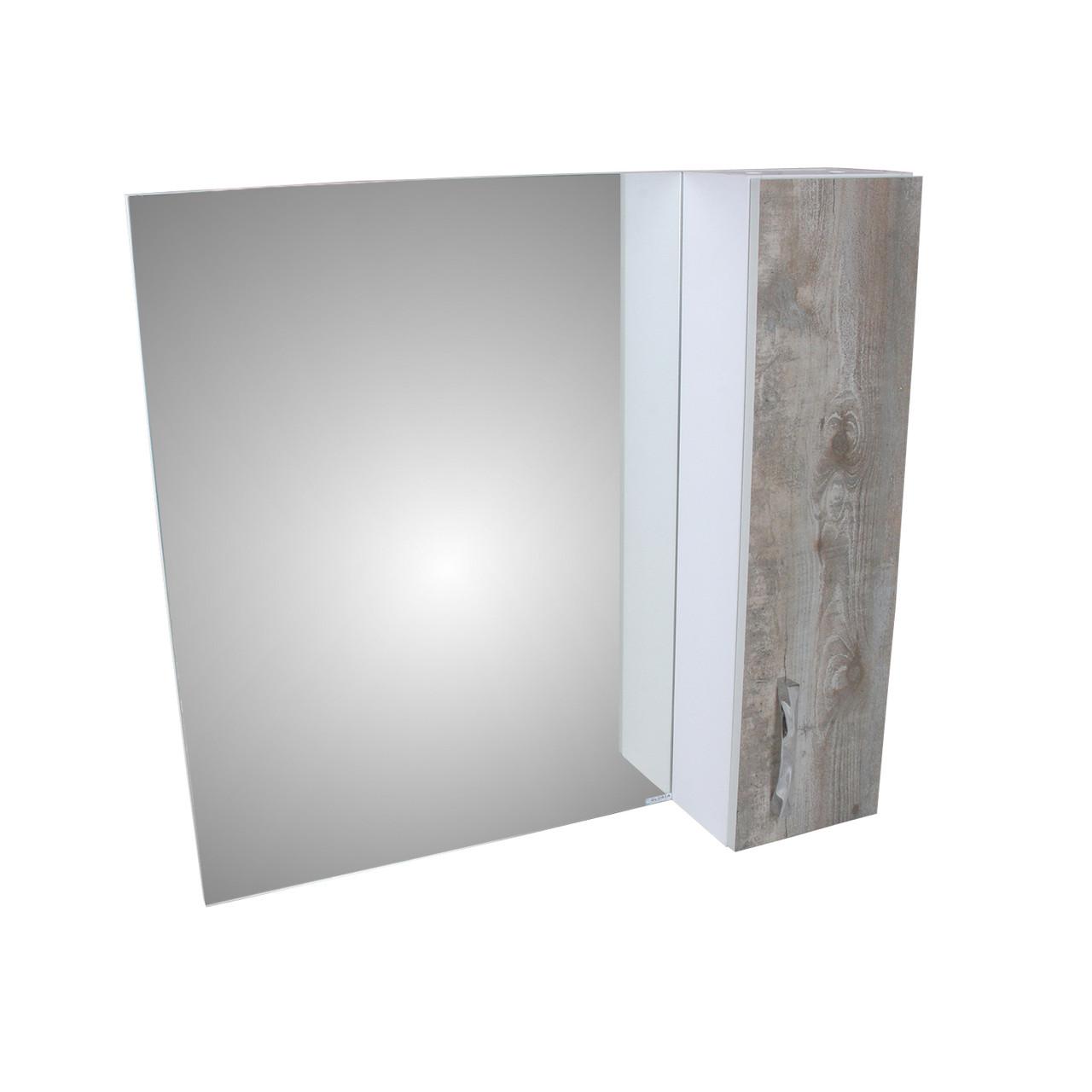 Шкаф-зеркало Гуана 80 экзотика/белый