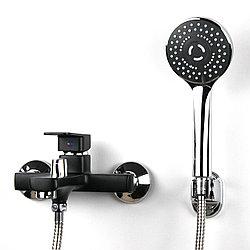 Смеситель настенный для душа/ванны с коротким гусаком чёрного цвета GLORIA GL349