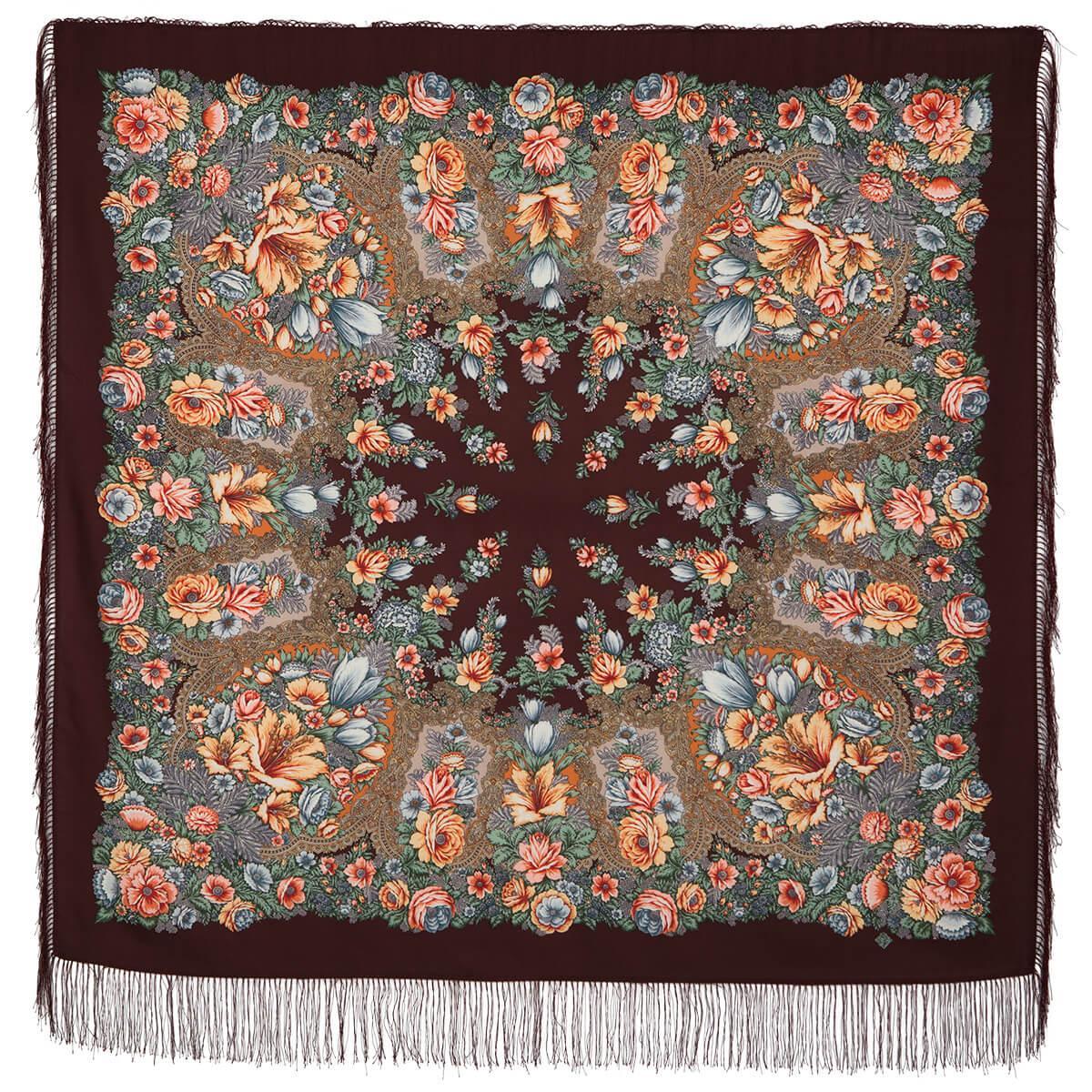 Павлопосадский платок Цветочная симфония 1120-7 (135х135 см)