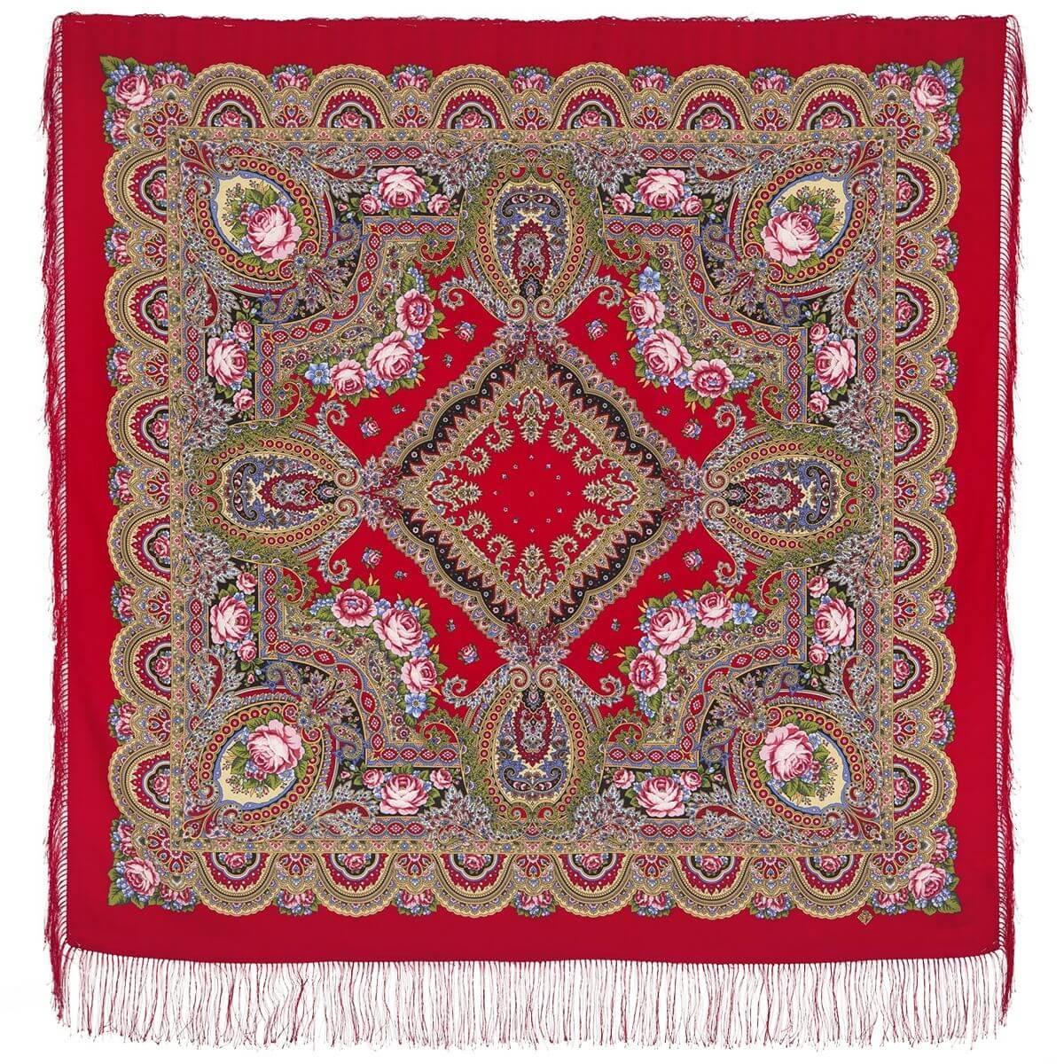 Павлопосадский платок Русское раздолье 1619-5 (135х135 см)