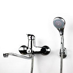 Смеситель для душа/ванны хромого цвета с длинным гусаком (24 см.) GLORIA GL213