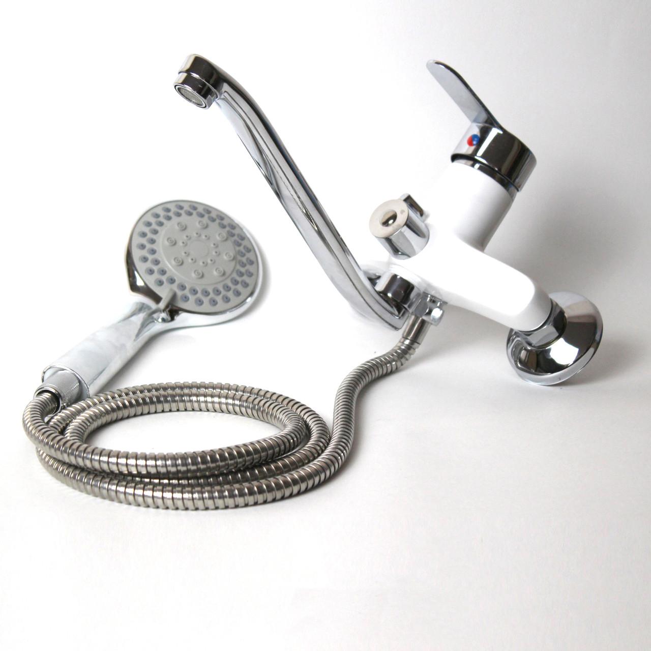 Смеситель для душа/ванны (Белый) с длинным гусаком GL310