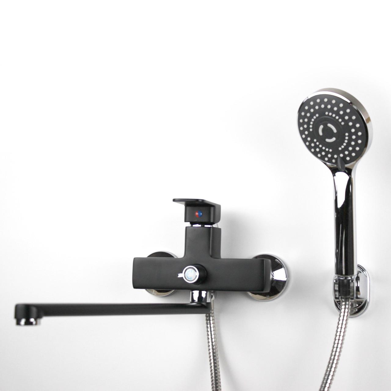 Смеситель для душа/ванны чёрного цвета с длинным гусаком (34 см) GLORIA GL346