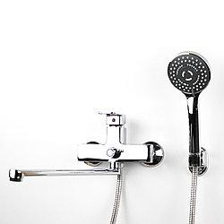 Смеситель для душа/ванны хромого цвета с длинным гусаком (34 см.) GLORIA GL344