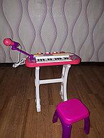 Детский синтезатор с микрофоном 66311 розовый