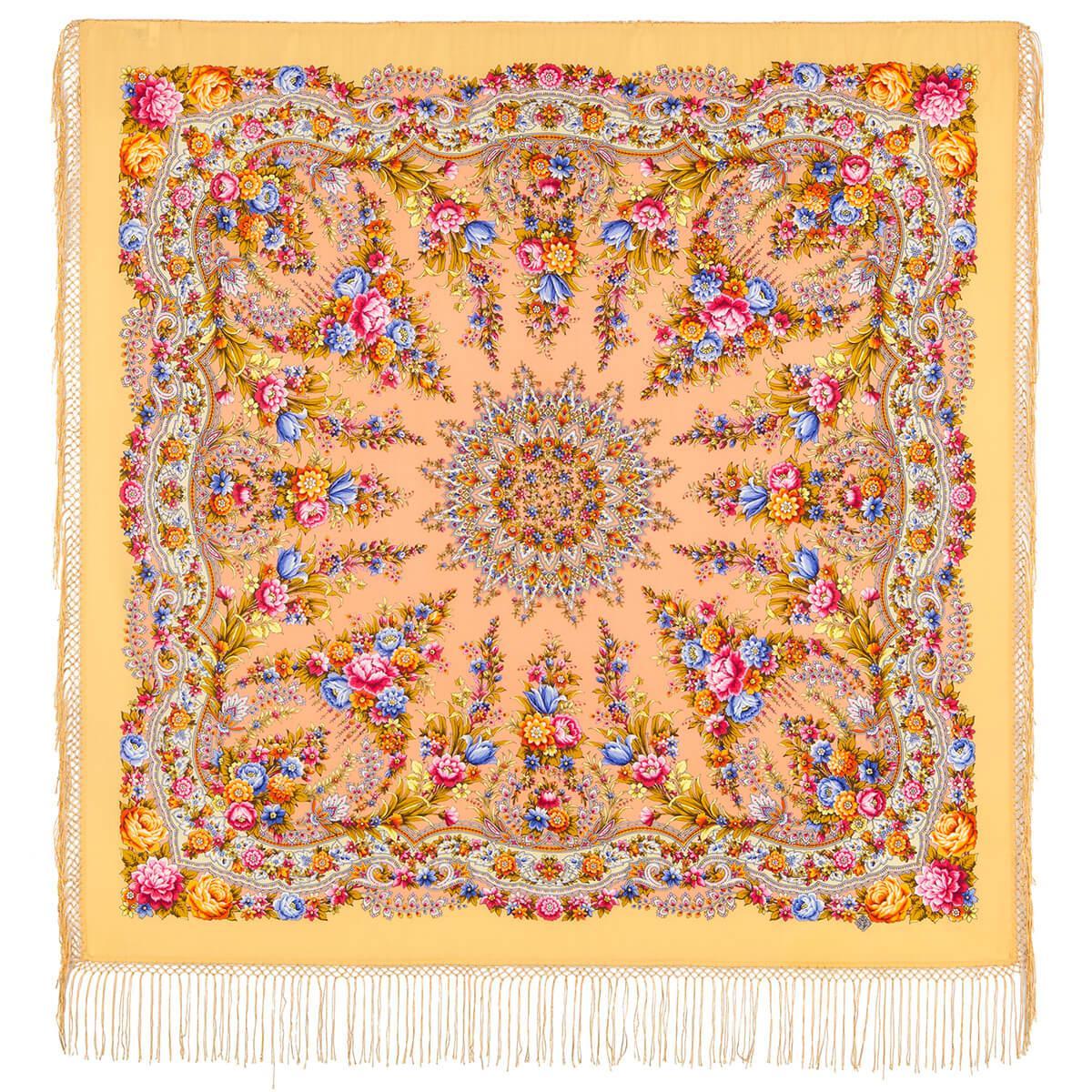 Павлопосадский платок Праздник огня 1739-2 (135х135 см)