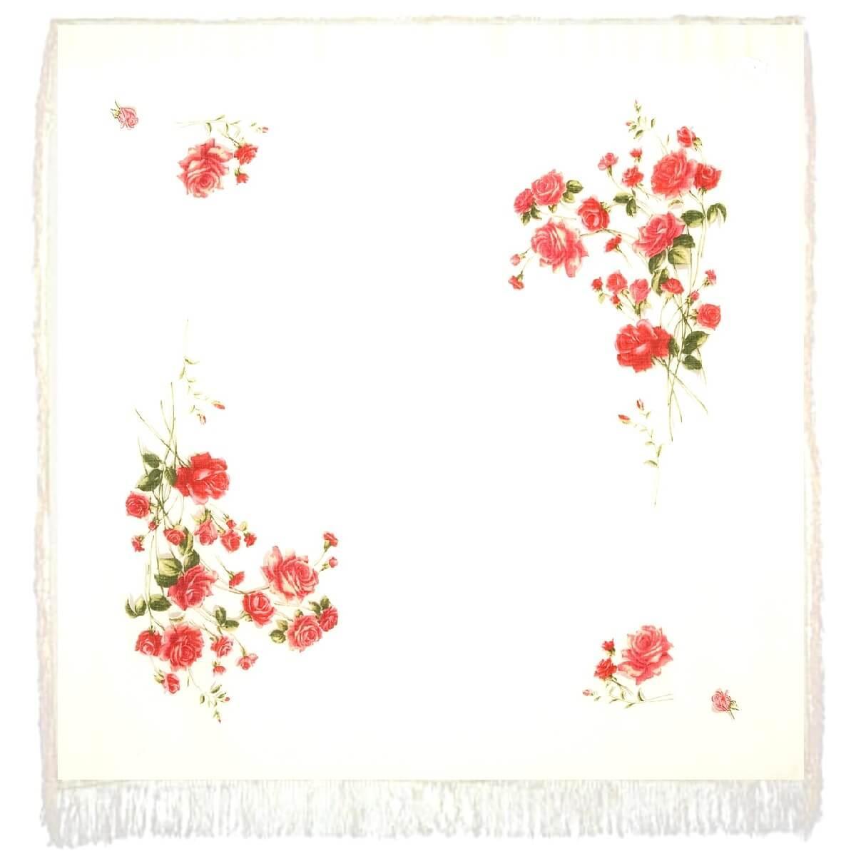 Павлопосадский платок Розы на снегу 1227-1 (146х146 см)