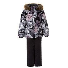 Комплект для девочек Huppa WONDER, чёрный с принтом/тёмно-серый -122