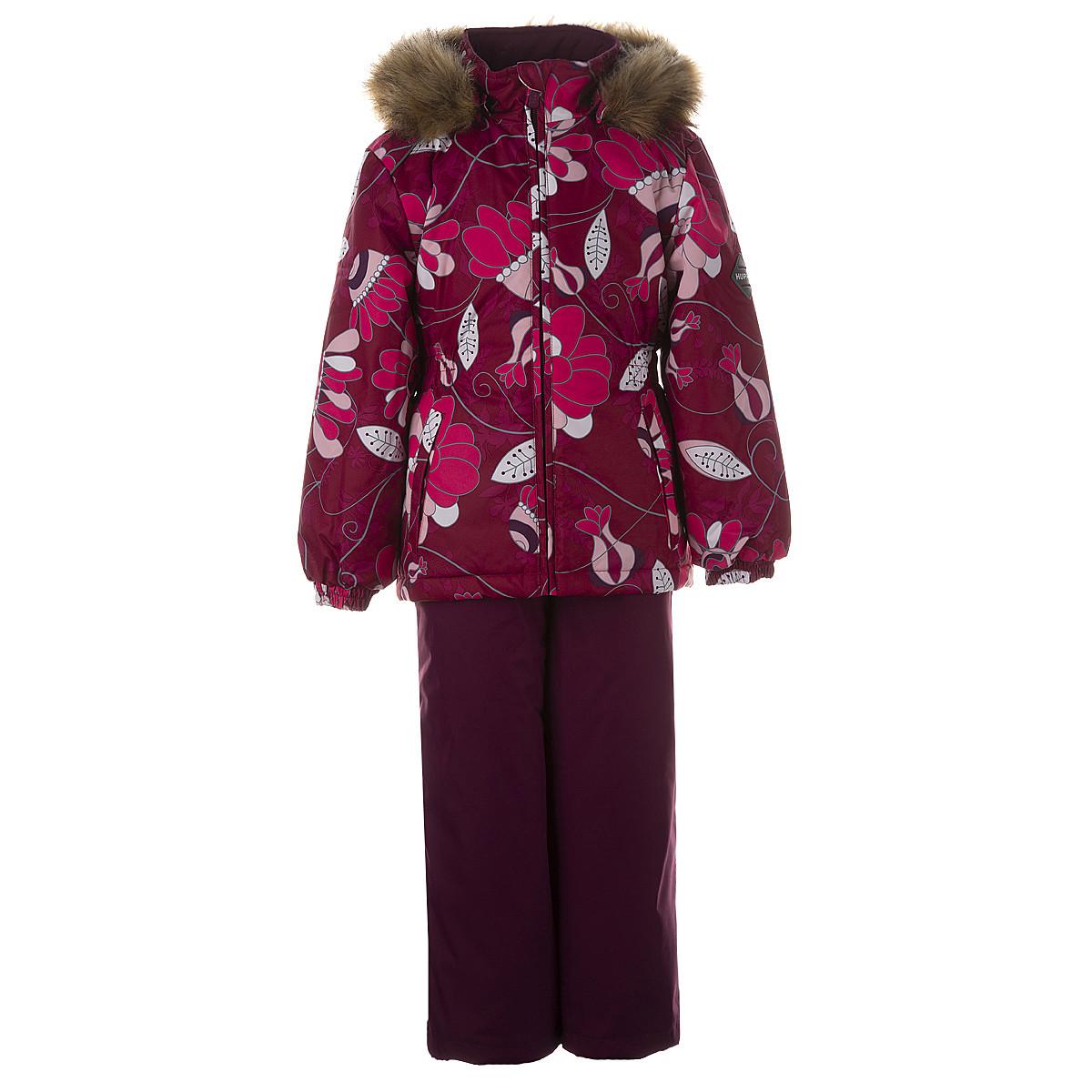 Комплект для девочек Huppa WONDER,  бордовый с принтом/бордовый