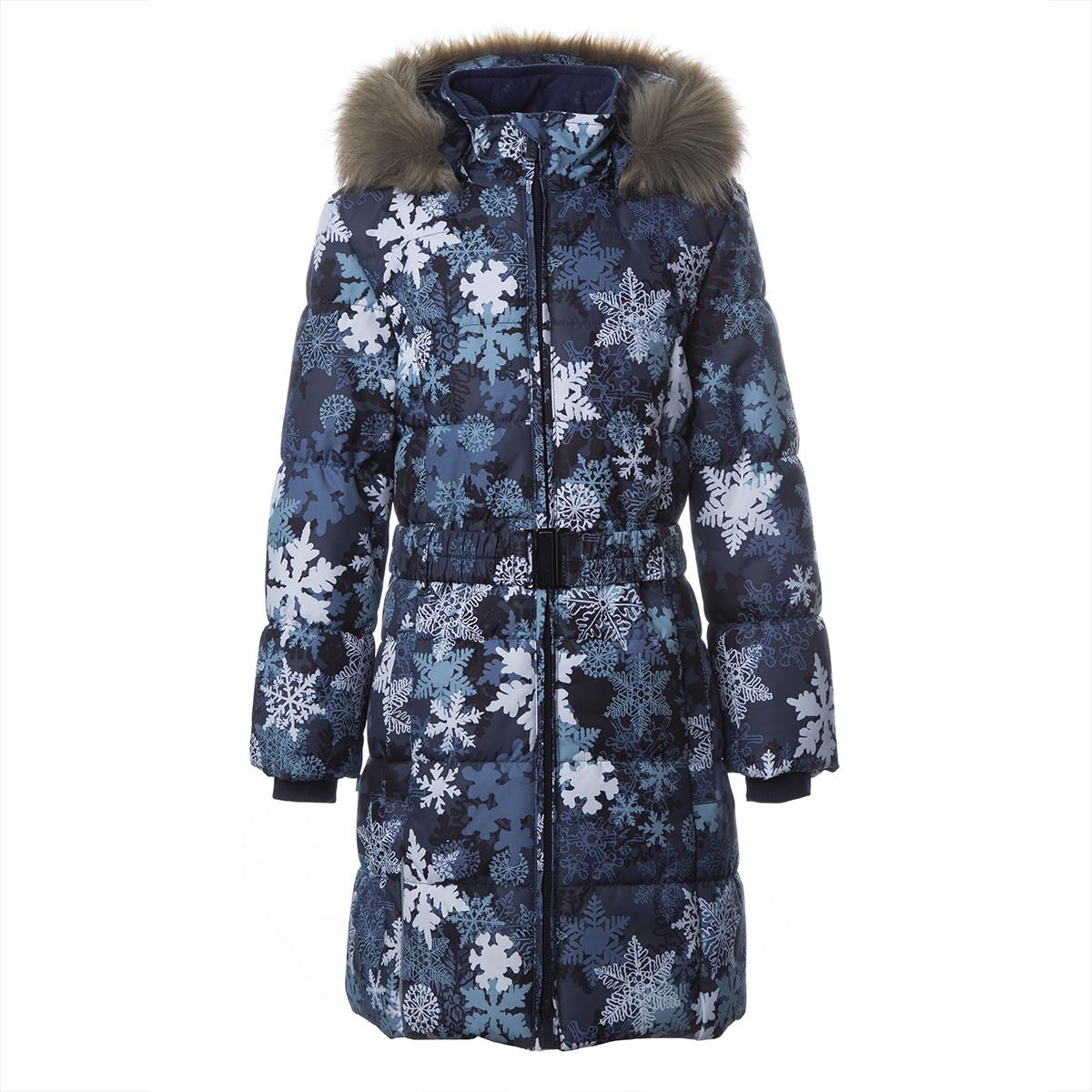 Пальто для девочек Huppa YACARANDA, тёмно-синий с принтом