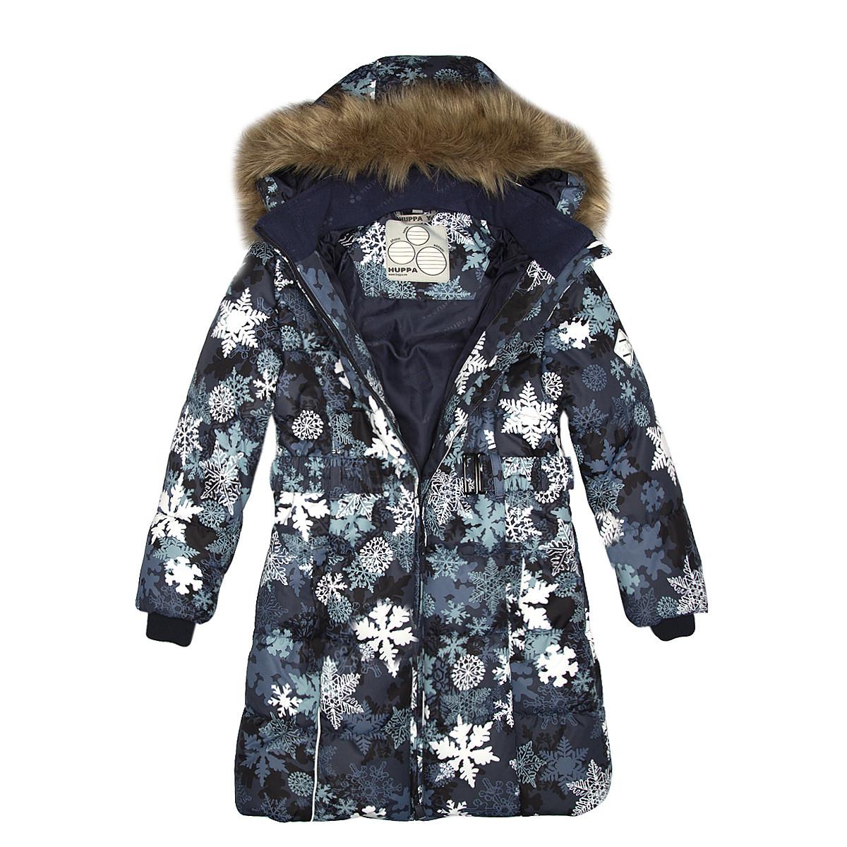 Пальто для девочек Huppa YACARANDA, тёмно-синий с принтом -116 - фото 4
