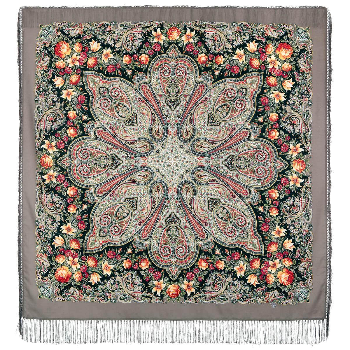 Павлопосадский платок Цветочный калейдоскоп 1789-9 (146х146 см)