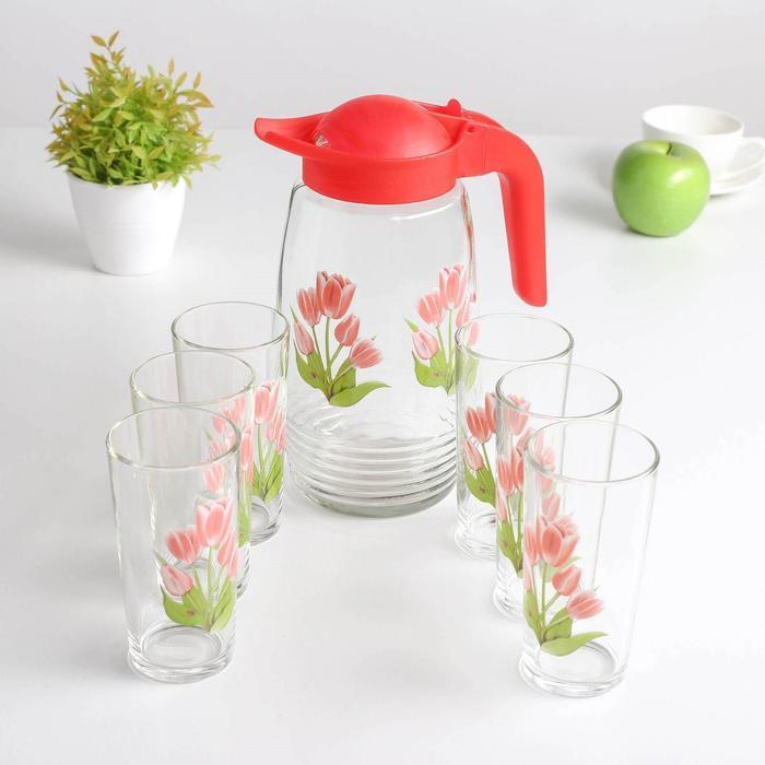 Набор питьевой «Весенние тюльпаны», 7 предметов: кувшин 1,3 л, стакан 230 мл 6 шт