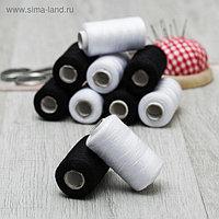 Набор ниток, 10 шт, цвет чёрный/белый