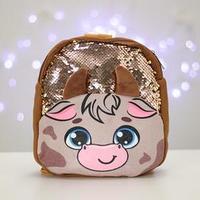 Рюкзак детский новогодний с пайетками 'Бычок' 26х24 см