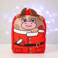 Рюкзак детский новогодний 'Бычок - Дед Мороз' 22х17 см