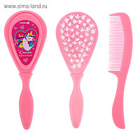 Расчёска детская + массажная щётка для волос «Самая красивая», от 0 мес., цвет розовый