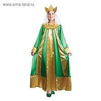 Карнавальный костюм «Царевна», атлас, платье, корона, р. 42, рост 172 см, цвет зелёный